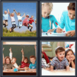 4 pics 1 word kid jumping in air