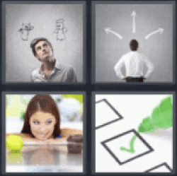 4 pics 1 word man choosing between devil and angel
