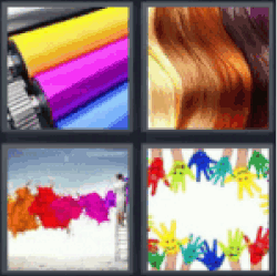 4 Pics 1 Word Yellow purple blue rolls