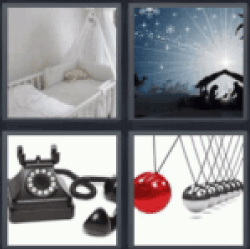 4 pics 1 word old phone cot