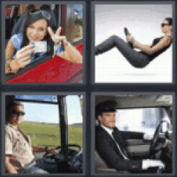 4 Pics 1 Word Woman in car