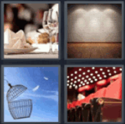 4 Pics 1 Word Restaurant table set up