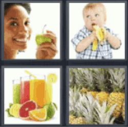 4 Pics 1 Word Woman holding apple