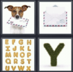 4 pics 1 word dog carrying letter