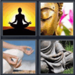 4 pics 1 word woman meditating