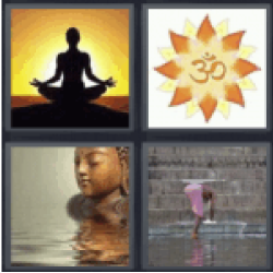 4 pics 1 word woman meditating at sunset