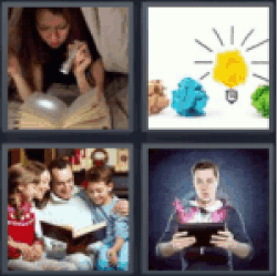 4 pics 1 word reading with flashlight