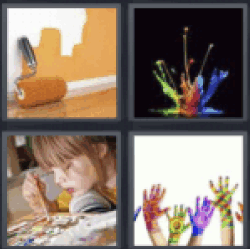 4 pics 1 word painted wall