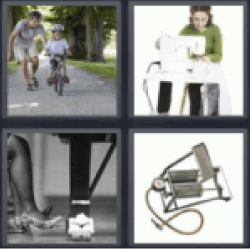4 pics 1 word boy learning to ride bike