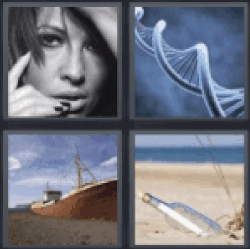 4 pics 1 word Close up of womans face