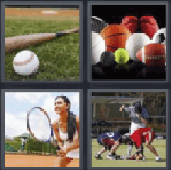 4 pics 1 word baseball bat and ball tennis player