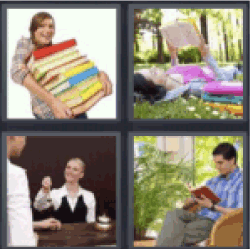 4 pics 1 word woman carrying pile of books