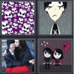 4 pics 1 word purple skulls all answers updated 4 pics 1 word 4 pics 1 word purple skulls cartoon boy crying in rain girl sitting on boys lap girl in black gothic dress expocarfo Gallery