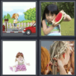 4 pics 1 word cartoon of girl running on the street