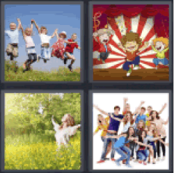 4 pics 1 word group of children jumping