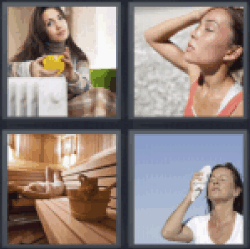 4 Pics 1 Word woman sweating