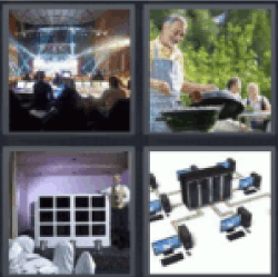 4 Pics 1 Word spotlights scenario. Flat office networks.