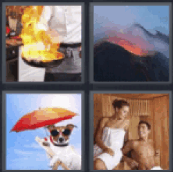 4 pics 1 word pan on fire all answers updated 4 pics 1 word 4 pics 1 word pan on fire or skillet on fire volcano dog with sunglasses and umbrella man and woman in sauna expocarfo