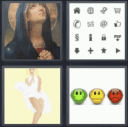 4 Pics 1 Word symbols. Image of a virgin.