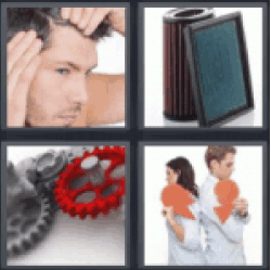4 pics 1 word guy looking at his hair