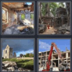 4 pics 1 word answers 4 letters all answers updated 4 pics 1 word answers 4 letters room in ruins temple ruin grass and building construction ruin and a crane expocarfo Image collections