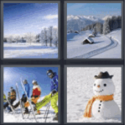 4 pics 1 word snowman all answers 4 pics 1 word 4 pics 1 word snowman snowy field cottages in the snow winter skiers snowboarders snowman expocarfo Image collections