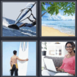 4 pics 1 word girl with laptop glasses all answers updated 4 pics 1 word girl with laptop glasses doing windsurfing beach boy with surfboard expocarfo Images