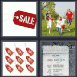 4 Pics 1 Word Red sale label