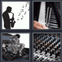 4 Pics 1 Word man playing the saxophone