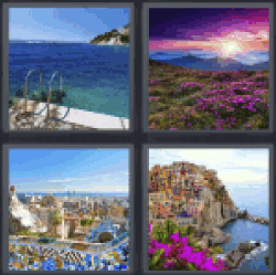 4 pics 1 word answers 4 letters list updated 4 pics 1 word 4 pics 1 word answers 4 letters list staircase and the sea vegetation and pink flowers city image of village next to a cliff expocarfo