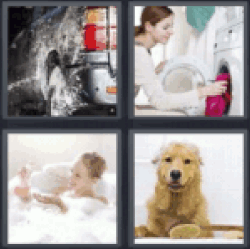 4 Pics 1 Word washing car