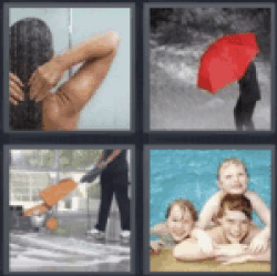 4 pics 1 word woman showering