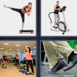 4 pics 1 word Woman doing exercise