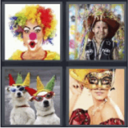4 pics 1 word woman in clown outfit