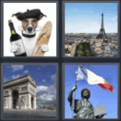 4 pics 1 word dog with wine and bread