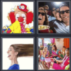 4 pics 1 word clown couple at movies