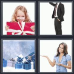 4 pics 1 word child with red gift
