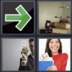4 pics 1 word green arrow sign