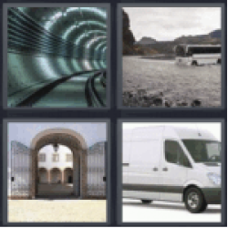 4 pics 1 word subway tunnel white van