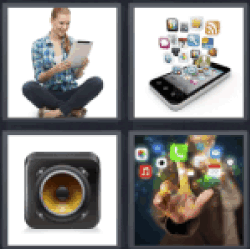 4 Pics 1 Word woman at tablet