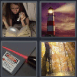 4 pics 1 word girl reading with flashlight