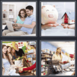 4 Pics 1 Word couple with laptop