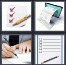 4 pics 1 word Papers with check mark
