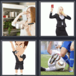 4 pics 1 word Girl taking out red card
