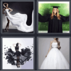 4 Pics 1 Word White wedding dress