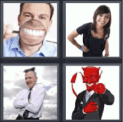 4 pics 1 word man smiling with magnifying glass