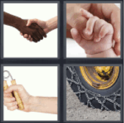 4 Pics 1 Word black and white hand