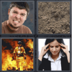 4 Pics 1 Word fireman and fire