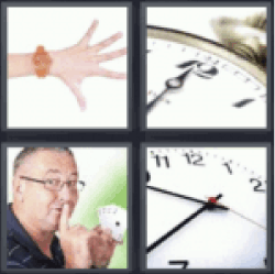 4 pics 1 word hand with orange clock
