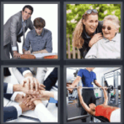 4 Pics 1 Word hands together